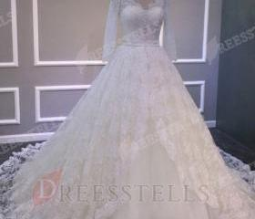 Ball Gown V Neck Lon..