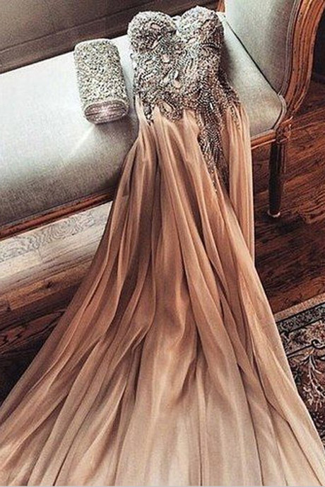 Sexy Sweetheart Gold Chiffon Prom Dress With Beading