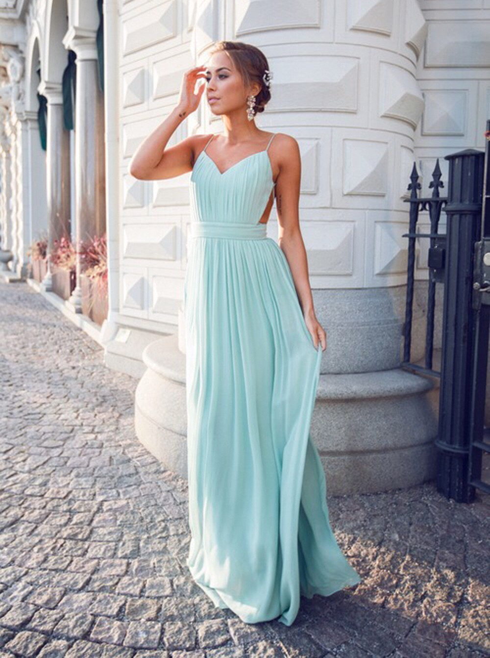 b6426bebc51 Sexy V-neck Spaghetti Straps Floor-Length Open Back Mint Homecoming Dress  Ruched on Luulla