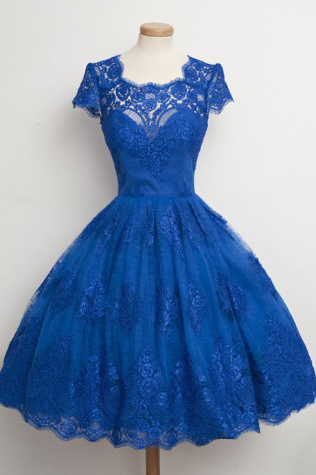 Vintage A-Line Square Neck Knee Length Royal Blue Prom/Homecoming Dress with Lace