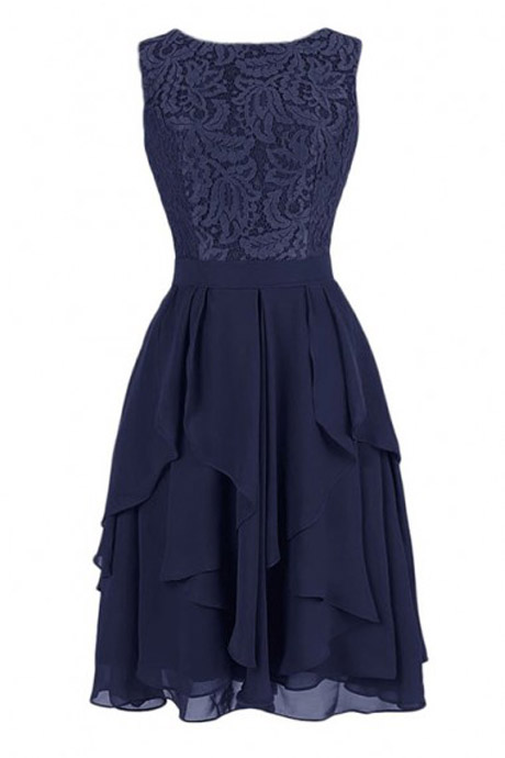 Exquisite A-line Knee Length Chiffon Navy Short Bridesmaid Dress with Lace