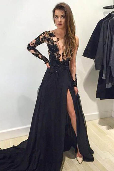 Mermaid Prom/Evening Dress - Black V-Neck Sweep Train with Appliques