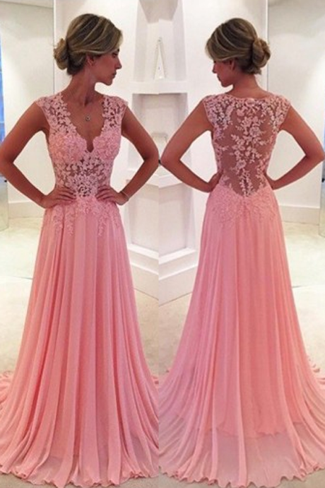 Classic V-Neck Court Train Pink Prom Dress/Evening Dress with Appliques