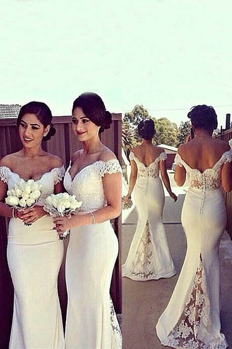 Elegant Mermaid Off-shoulder Long White Bridesmaid Dress with Lace