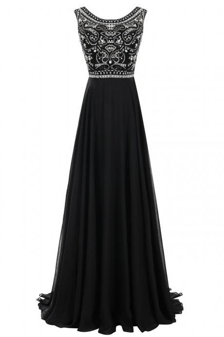 Simple Bateau A-line Black Long Chiffon Prom Dress with Beaded