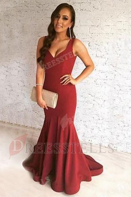 Nice Scoop Sleeveless Sweep Train Burgundy Mermaid Prom Dress