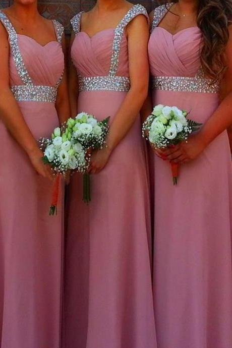 A Line Sweetheart Floor Length Ruched Pink Bridesmaid Dress with Beading