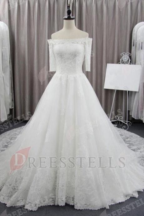 Lace Off-The-Shoulder Half Sleeves Floor Length Tulle Wedding Gown Featuring Court Train