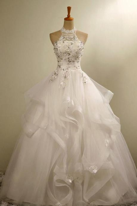 Ball Gown Halter Floor-Length Organza Wedding Dress Tiered with Appliques Beading