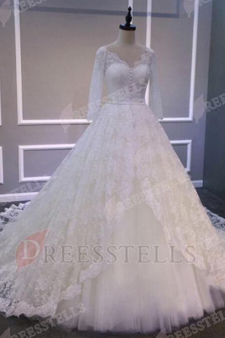 Ball Gown V Neck Long Sleeves Wedding Dress with Sash Lace Court Train