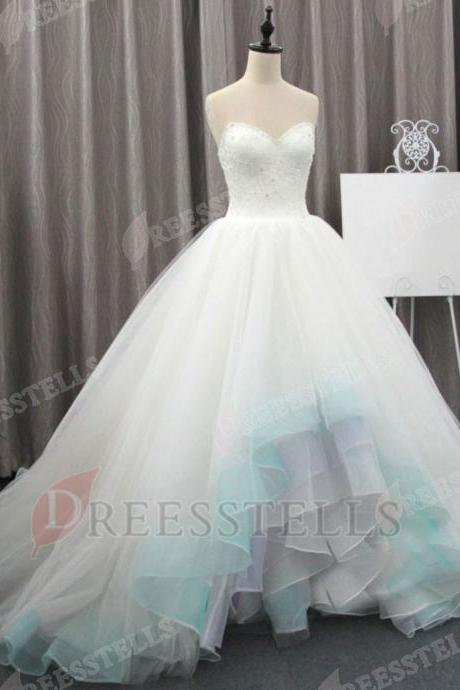 Beaded Embellished Sweetheart High Low Tulle Ruffled Wedding Gown Featuring Lace-Up Back and Train
