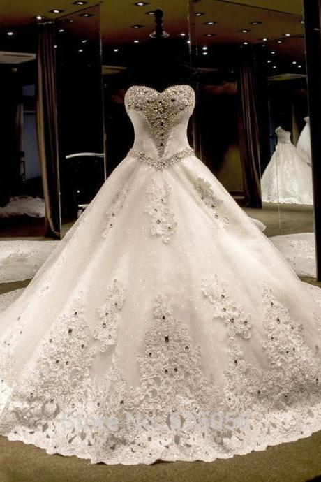 Ball Gown Sweetheart Court Train Tulle Sequined Wedding Dress with Lace Bow