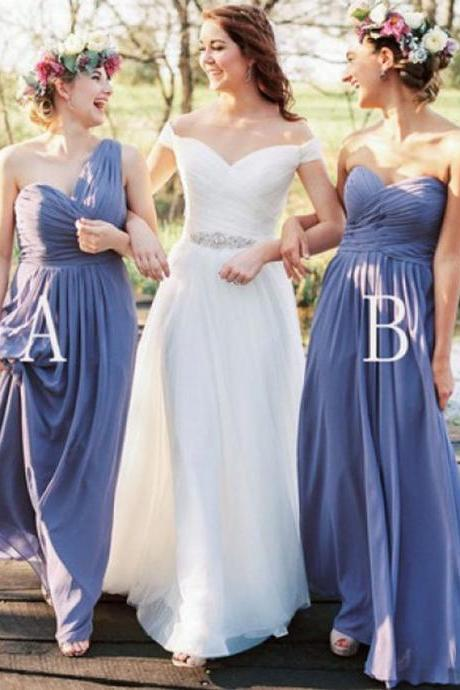 Exquisite Sheath One Shoulder Floor Length Lavender Bridesmaid Dress with Ruffles