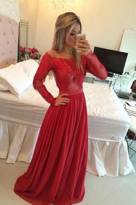 Glamorous A-Line One Shoulder Floor Length Red Prom/Evening Dress with Beading