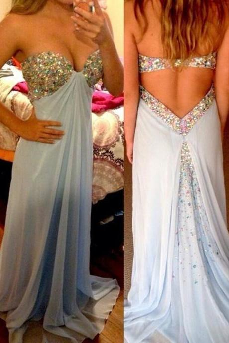 Sexy Prom Dress,A-Line Prom Dress,Sweetheart Prom Dress,Blue Prom Dress,Beaded Prom Dress,Open Back Prom Dress