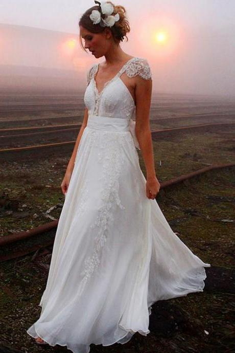 A-line Lace V-neck Backless Chiffon Cap Sleeves Bowknot Wedding Dress