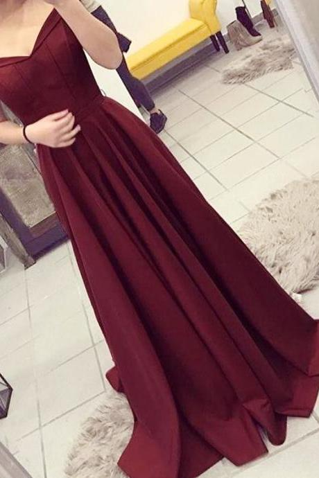 Burgundy A-line Off the Shoulder Pleated Sweep Train Prom Dress