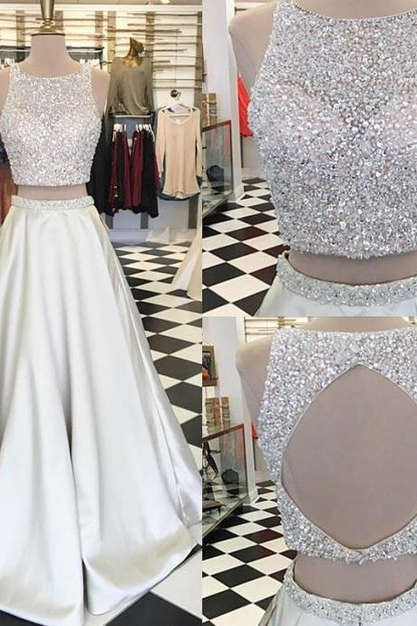 Sparkle Two Piece A-Line Ivory Prom Dress - Crew Sleeveless Floor-Length Beading