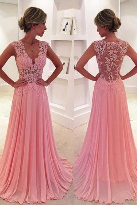 Classic A-Line V-Neck Pink Prom Dress/Evening Dress with Appliques
