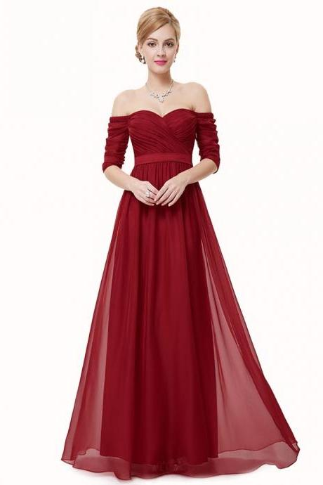 Free Shipping A-line Sweetheart Floor-Length Half Sleeves Bridesmaid Dress with Sash