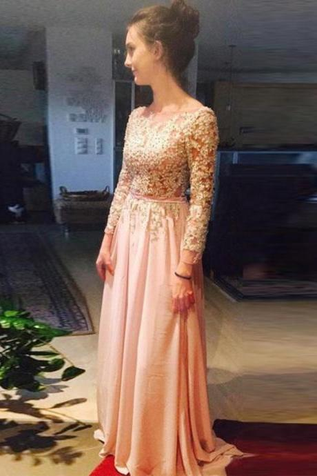 Free Shipping A-line Backless Bateau 3/4 Sleeves Long Prom Dress with Sash Lace Pearls