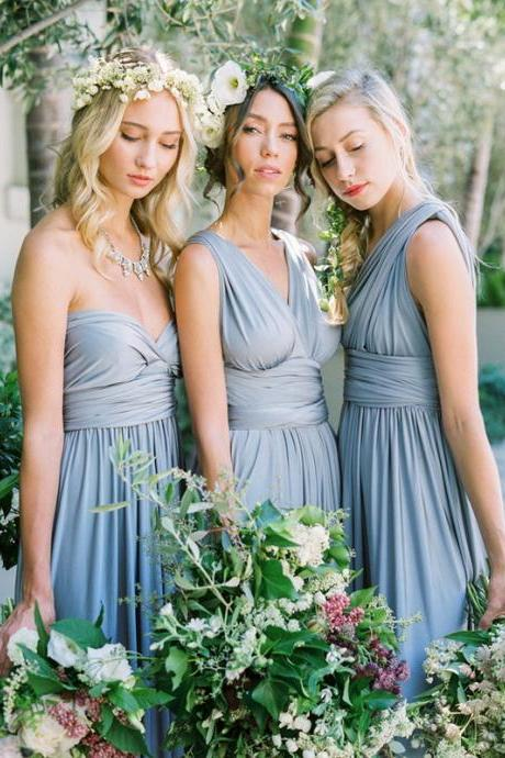 Multi Way Chiffon Floor Length Evening Dress in Dusty Blue, Convertible Bridesmaid Dress
