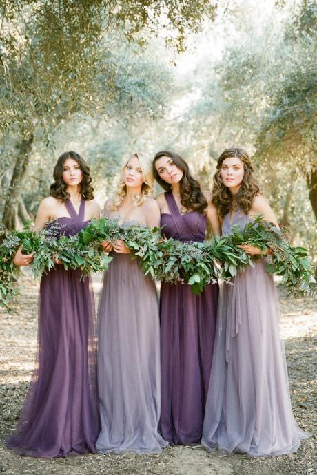 Convertible/Multiway Bridesmaid Dresses-Purple Tulle Convertible Bridesmaid Dresses