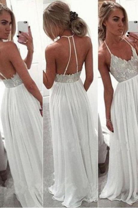 White Chiffon Sequined Lace Long Prom Dress Backless Long Prom Dresses
