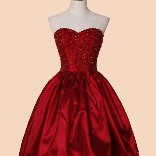 A-line Sweetheart Above-knee Red Stretch Satin Homecoming Dress with Beading