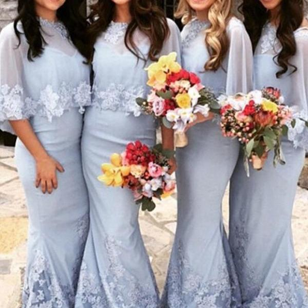 Mermaid Bridesmaid Dress - Light Blue Bateau Half Sleeves Appliques