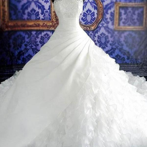 A-Line Halter Chapel Train Organza Pearls White Wedding Dress with Lace Beading
