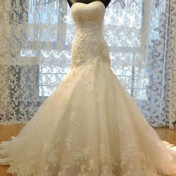 Exquisite Mermaid Strapless Sleeveless Lace-Up Sweep Train Wedding Dress with Appliques Beading