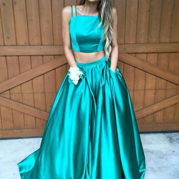 Simple Two Piece Spaghetti Straps A-Line Sleeveless Ruched Sweep Train Prom Dress